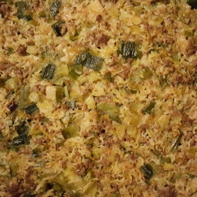Albanian Leek and Rice Bake