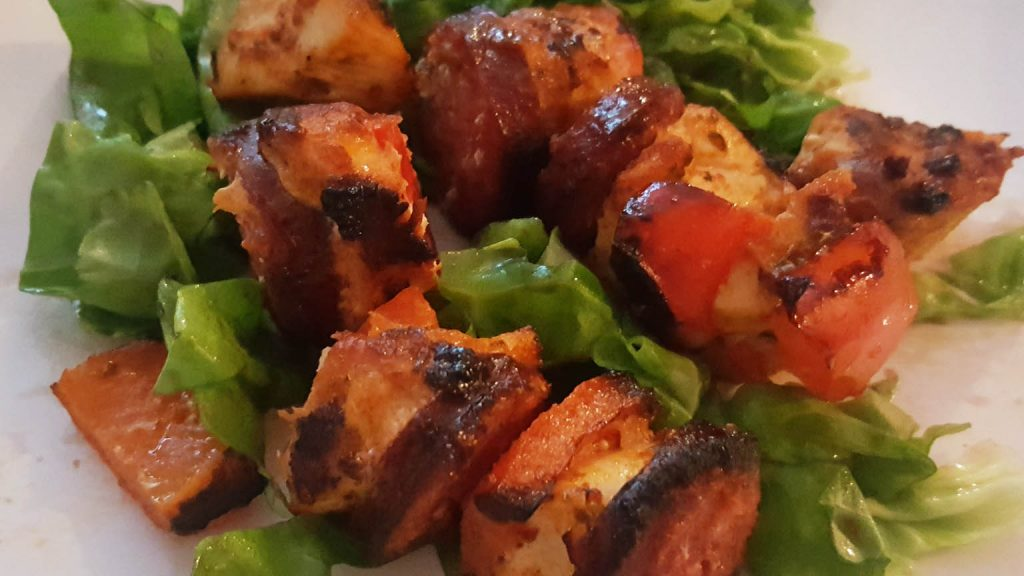 Albanian Chicken Kebabs Infused With Flavours Of Albanian Salami